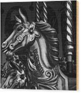 Carousel Horses Mono Wood Print