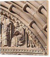 Carved Stone Biblical Mural Above Catholic Cathedral Doorway Wood Print
