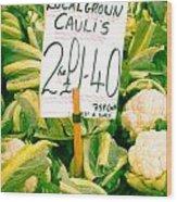 Cauliflower Wood Print by Tom Gowanlock