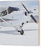 Cessna Aircraft On Bonneville Salt Flats Wood Print