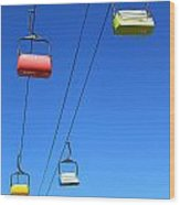 Chairlift Cars Wood Print