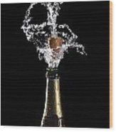 Champagne Cork Explosion Wood Print