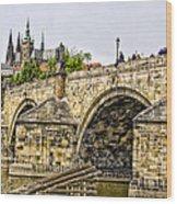 Charles Bridge And Prague Castle Wood Print