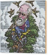 Charles Darwin In His Evolutionary Tree Wood Print