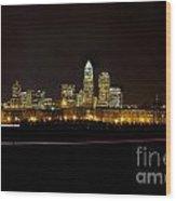 Charlotte Skyline At Night Wood Print by Patrick Schneider