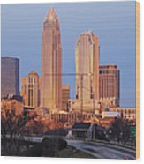 Charlotte Skyline At Sunrise Wood Print
