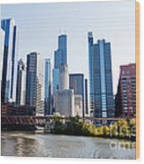 Chicago River Skyline With Sears-willis Tower Wood Print