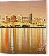 Chicago Skyline At Night Photo Wood Print