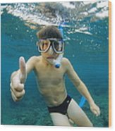 Child Snorkelling Wood Print by Alexis Rosenfeld