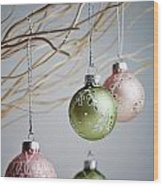 Christmas Baubles Wood Print
