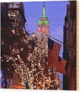 Christmas In New York Wood Print