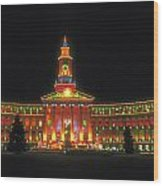 Christmas Lights In Denver Wood Print