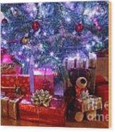 Christmas Tree And Presents Wood Print