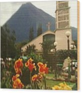 Church Nestled In The Mountains Wood Print