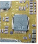 Circuit Board Microchip, Sem Wood Print