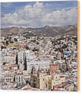 City Of Guanajuato From The Pipila Overlook At Dusk Wood Print by Jeremy Woodhouse