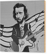 Clapton In Black And White Wood Print