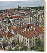 Clock Tower View - Prague Wood Print