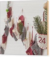 Close Up Of Advent Calendar On Wall Wood Print