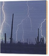 Cloud To Ground Lightning Wood Print