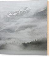 Clouds And Mist Over Forest, Admiralty Wood Print