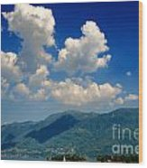Clouds And Mountain Wood Print