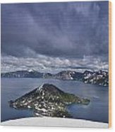 Clouds Over Crater Lake Wood Print