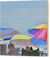 Coast Guard Beach Umbrellas Wood Print