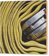 Coiled Fire Hose Wood Print by Skip Nall