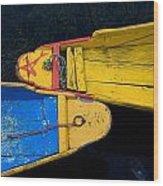 Colorful Boats, Srinagar, Dal Lake Wood Print