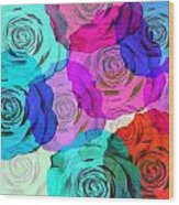 Colorful Roses Design Wood Print by Setsiri Silapasuwanchai