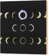 Composite Time-lapse Images Of Solar Eclipses Wood Print