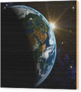 Computer Artwork Of Sunrise Over The Earth Wood Print