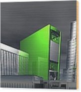 Computer City, Conceptual Artwork Wood Print