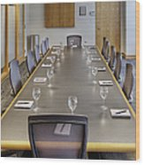 Conference Table And Chairs Wood Print by Andersen Ross