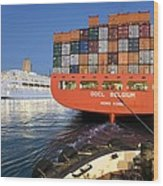 Container Ship Wood Print by Paul Rapson
