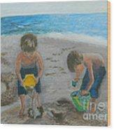 Cool Water Warm Sand Wood Print