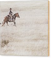 Cowboy And Dog Wood Print by Cindy Singleton