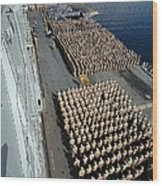 Crew Aboard The Amphibious Assault Ship Wood Print