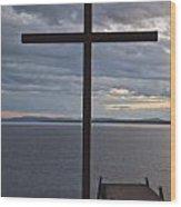 Cross By Lake Wood Print