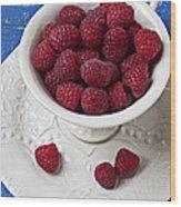 Cup Full Of Raspberries Wood Print