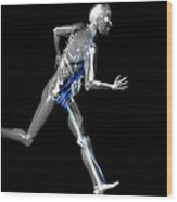 Cyborg Running Wood Print