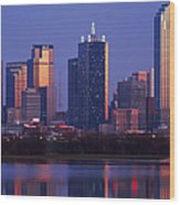 Dallas Skyline Reflected In Pond At Dusk Wood Print by Jeremy Woodhouse