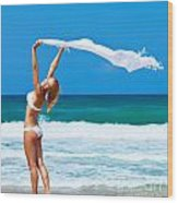 Dancing Happy Girl On The Beach Wood Print