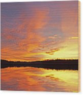 Dawn Jackson Hole Lake Wood Print