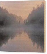 Dawn On The Yellowstone River Wood Print