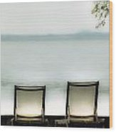 Deck Chairs Wood Print