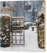 Decorative Iron Gate In Winter Wood Print