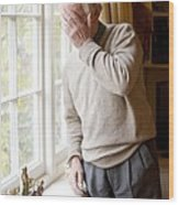 Depressed Senior Man Wood Print