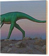Dinosaur Loose On Route 66 Wood Print